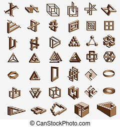 Vector illustration of a geometrical impossible objects on white background
