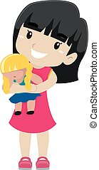 Girl holding her Doll - Vector Illustration of a Girl...