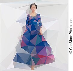 Vector illustration of a Girl in a dress. Triangle style -...