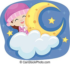 Girl In the Sky wearing Pajamas