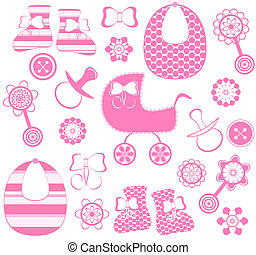 vector illustration of a girl newborn collection