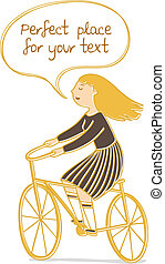 Vector illustration of a girl riding a bicycle with speech bubble for your text.
