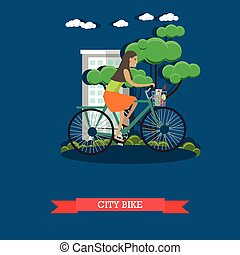 Vector illustration of a girl riding city bike, flat style