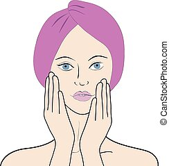 Vector illustration of a girl toching her face - Stock ...