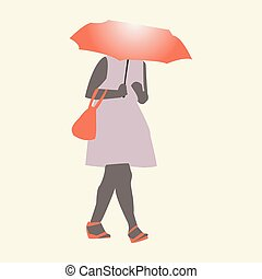 Vector illustration of a girl walking in the rain