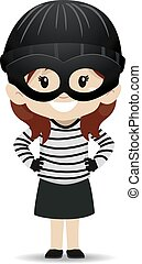 Girl wearing a Bandit costume - Vector Illustration of a ...