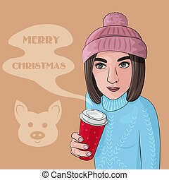 Vector Illustration of a Girl with Coffee for Merry Christmas