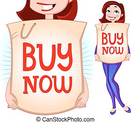 Vector illustration of a girl with shopping bag