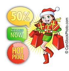 Vector illustration of a girl with shopping bags. Christmas shop
