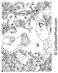 Vector illustration of a girl with freckles zentangl hugging dog fox terrier. Doodle flowers, frame, forest, garden. cartoon. Coloring book anti stress for adults. Black white.