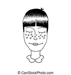 Vector illustration of a girl's head with freckles in the shape of a heart. Young enamored woman portrait