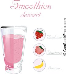 Vector illustration of a glass cup smoothie with raspberry, strawberry, banana. Healthy nutrition. Vegan drink. Healthy breakfast