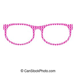 vector illustration of a glasses  with pink ribbon isolated on white background