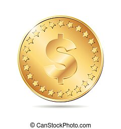 vector illustration of a gold coin on white background