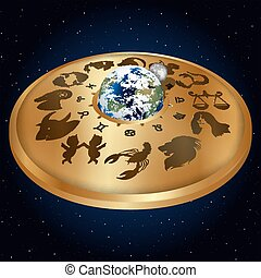 gold disc with signs of the zodiac around the planet