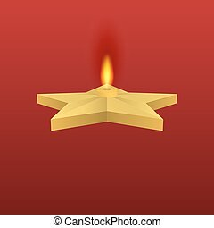 Vector illustration of a gold star with fire