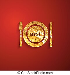 vector illustration of a golden metallic foil plate and cutlery
