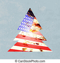 Vector illustration of a graphic christmas tree with american flag colors