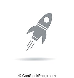 Vector illustration of a gray rocket with shadow.