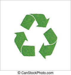 Icon green sign of recycling, isolated on white background....
