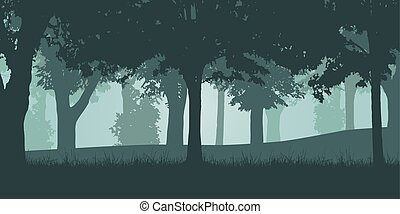 Vector illustration of a green deciduous forest with grass