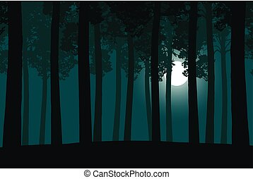 Vector illustration of a green forest with a moonlight