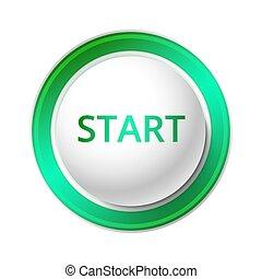 Start Button. - Vector Illustration of a green Start Button.