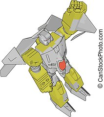 Vector illustration of a grey and yellow robot white background