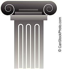 Vector illustration of a grey greek pillar on white background