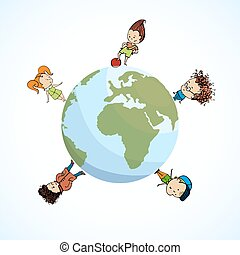 vector illustration of a group  children the globe