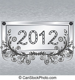 Vector illustration of a grunge metal background with frame, 2012, flower ornament. Christmass theme