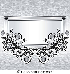 Vector illustration of a grunge metal background with frame and flower ornament.