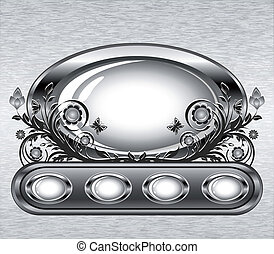 Vector illustration of a grunge metal background with oval frame and flower ornament.