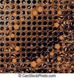 vector illustration of a grunge metal texture with floral ornament on it.