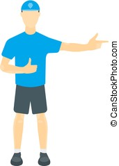 Vector illustration of a guy in a T-shirt, shorts and a cap....