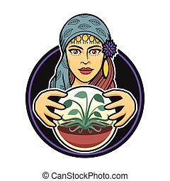 Vector illustration of a gypsy woman