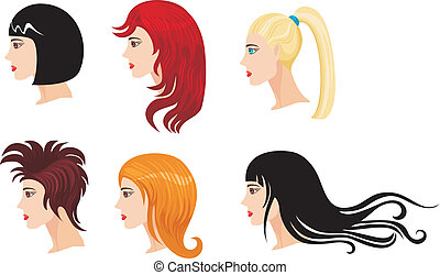 hairstyle set - vector illustration of a hairstyle set