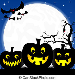 halloween background with pumpkins, full moon and bats