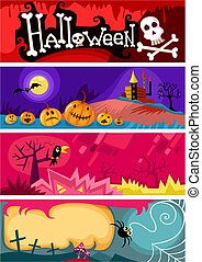 hallowen card set - vector illustration of a hallowen card...