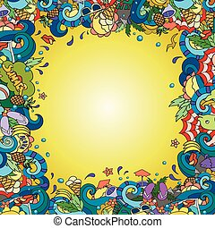 Vector illustration of a hand drawn doodle elements on the theme of summer vacation