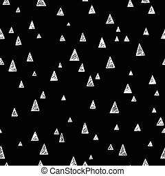 vector illustration of a hand drawn seamless pattern in negative black and white colors with different size of triangles.eps