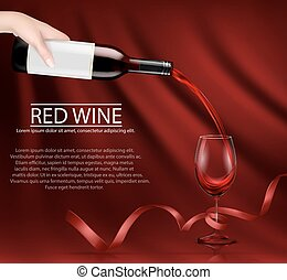 Vector illustration of a hand holding a glass wine bottle and pouring red wine into a glass