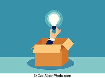 Vector illustration of a hand holding idea light bulb
