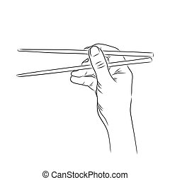 vector illustration of a hand holding sushi roll in contours