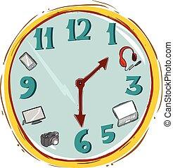 Vector illustration of a Hand made clock Vector Illustration.