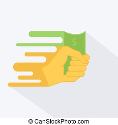 Vector illustration of a hand with money or dollar in the style of a flat design