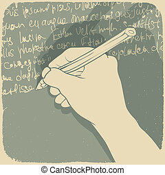 Vector illustration of a hand writing