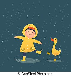 Vector illustration of a happy little girl in yellow hooded duck raincoat and rubber boots playing rain with the duck on a rainy day.