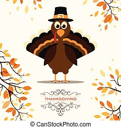Vector Illustration of a Happy Thanksgiving Celebration Design with Cartoon Turkey and Autumn Leaves