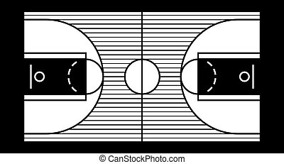 basketball court - Vector illustration of a hardwood...